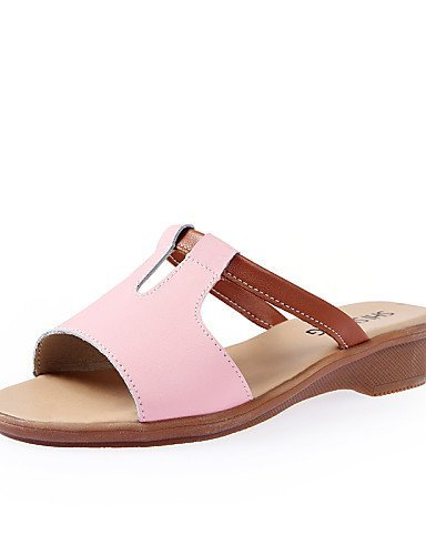 ShangYi Womens Shoes Leatherette Flat Heel Comfort / Round Toe Slippers Dress / Casual Blue / Yellow / Pink / White Pink