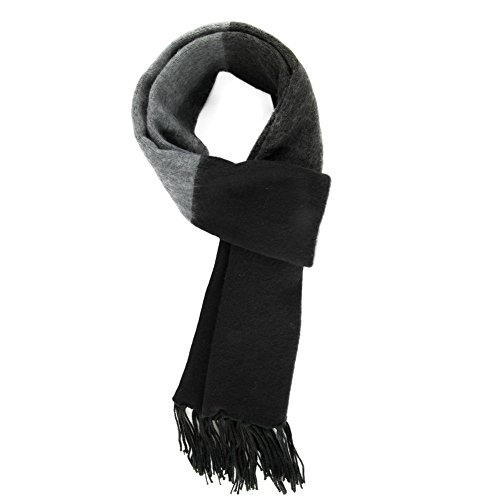 - SIGGI Mens Thick Striped Black Gray Extra Long Winter Crochet Knit Neck Scarf Fringe Shawl One Size88417_darkgrey