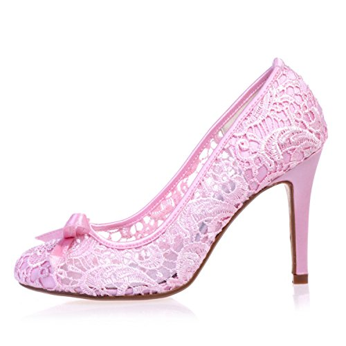 L@YC 5623-10 Women'S Wedding Shoes/Comfort Laces/Close Toe/Night Party & Tips Large Size/Various Colors Pink AJULO