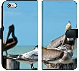 Luxlady iPhone 6 Plus / 6s Plus Flip Fabric Wallet Case Family of Brown Pelicans and TEM Standing on a pier Post Image ID 4016914