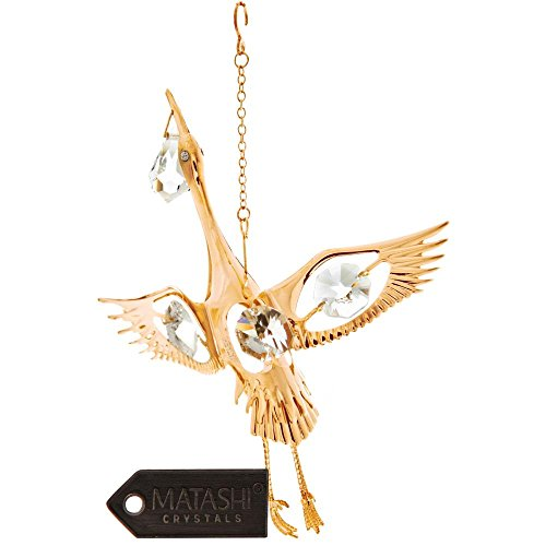 24K Gold Plated Crystal Studded Stork Bird Ornament by Matashi ()