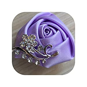 mamamoo Crystal Brooch Wedding Bouquet Decor Boutonniere Satin Rose Groom Corsage Brooch Flower,as pic11 39