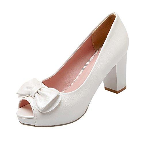 VogueZone009 Womens Zipper High-Heels Blend Materials Solid High-top Boots