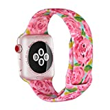 LitoDream Compatible Silicone [Double-Sided Print] Floral Cute Strap Replacement Apple Watch Band 42mm 44mm iWatch Band Flower Wristbands for Apple Watch Series 4/3/2/1 Sport Edition