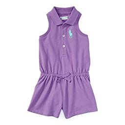 Ralph Lauren Baby Girls\' Cotton Sleeveless Polo Romper (12 Months , Charleston Purple)