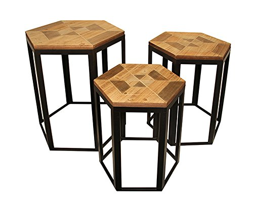 Cheung's 4715-3 Set of 3 nesting Hexagon wood topped tables with metal frame, Brown, Black, 3 Piece