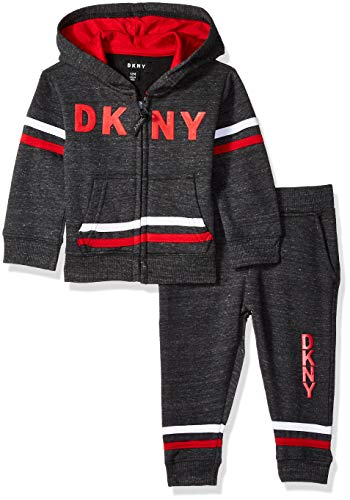 DKNY Baby Boys 5th Avenue Straited Fleece Hoody and Jog Pant, Dark Heather, 18M