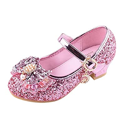 Toddler Kids Girl Mary Jane Flat Glitter BalletShoes Heeled Princess Shoes Wedding Party Dress Pumps (3.5-14Y) by Lowprofile from Lowprofile