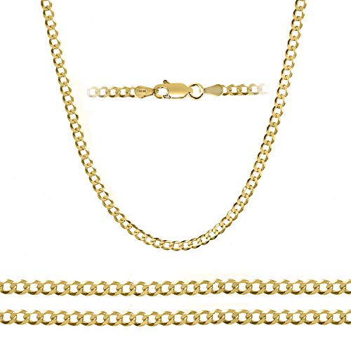 (Orostar 10K Yellow Gold 5mm Curb Chain Necklace and Bracelet, 7