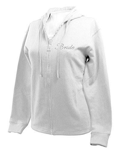 Isaac's Designs Womens Bridal White Crystal Bling Zipper Hoodie Sweatshirt (2X-Large, Bride)