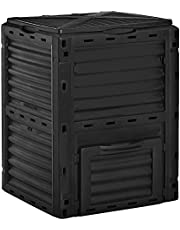 Outsunny Garden Compost Bin Large Outdoor Compost Container 80 Gallon Fast Creation of Fertile Soil Aerating Compost Box, Easy Assembly, Black