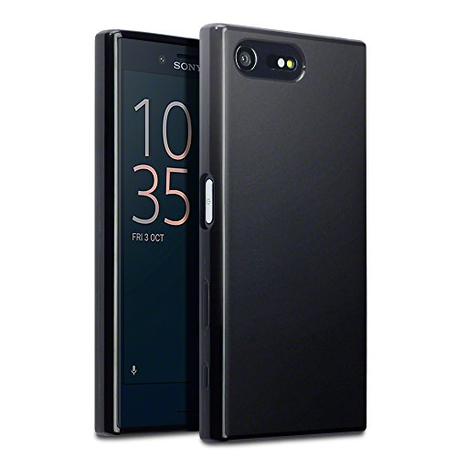 Price comparison product image Xperia X Compact Cover, Terrapin Sony Xperia X Compact Case - TPU Gel - Slim Design - Durable Shock Absorbing - Back Protector - Solid Black Matte Finish
