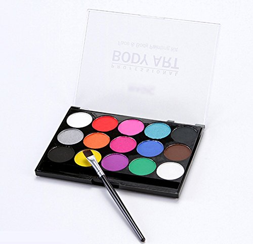 Halloween Professional Makeup (Face Body Paints Kits Professional Make Up Palette-Safe & Non-Toxic, Ideal for Halloween Party Face Painting - Easy to Wear and Remove-15 Colors with One Fine Brush)