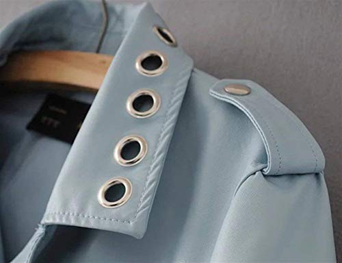 Chic Invernali Elegante Manica Donna Giacca Lunga Alta Fibbia Monocromo Qualità Tasche Cerniera Giubotto Moda Metallo Similpelle In Ragazza Pelle Giacche Blau Di Con Autunno PPEqxw8nZ