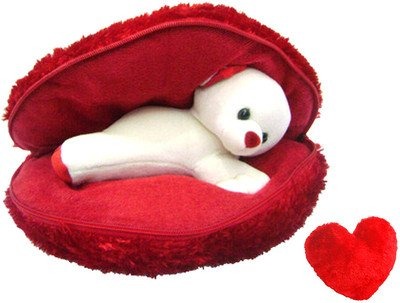 Saugat Traders Plush Soft Teddy in Red Heart Cushion, 36 cm