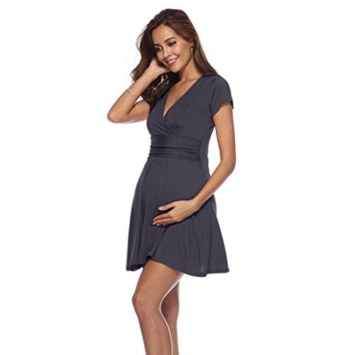 Camicetta Culater mon Sexy 2018 Abito Dressss gravidanza Grigio per Collar women d'onore premaman Size Damigella Plus la Nurse summer Slim V TwTPqA