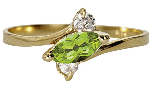 10k Yellow Gold Faceted Natural Genuine Green Peridot Sideways Marquise Simple Vintage Band Ring Size (Gold Marquise Peridot Ring)