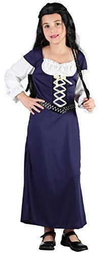 Girls Blue Medieval Maid Marion Renaissance Fancy Dress Costume Outfit 4-14 Years (12-14 -