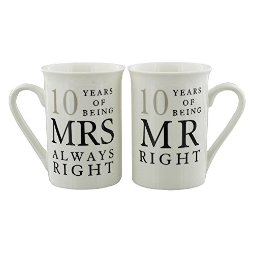 Ivory 10th Anniversary Mr Right & Mrs Always Right Mug Gift Set by Haysom Interiors
