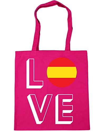 Gym x38cm 42cm Tote 10 Beach Shopping Spain litres Love Bag Fuchsia HippoWarehouse 1qwI80