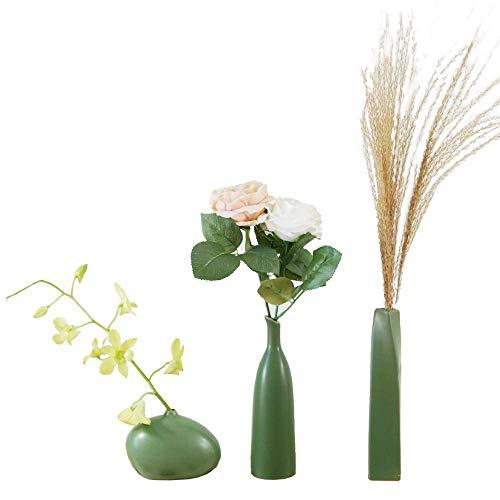 SAROSORA Ceramic Flower Vases - Home Decor Vase and Table Centerpieces Vase Set Of 3 (Atrovirens)