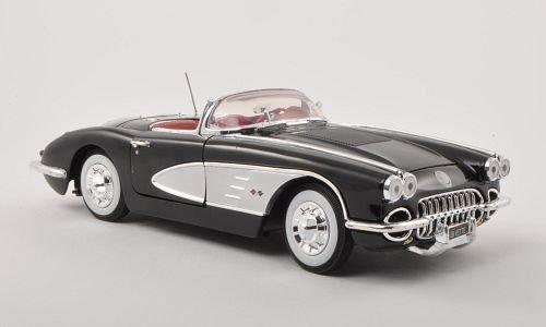 Chevrolet Corvette C1 , black/silver, 1958, Model Car, Ready-made, Motormax 1:18