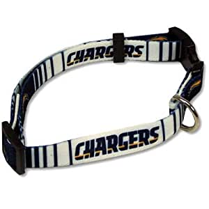SAN DIEGO CHARGERS ADJUSTABLE NYLON DOG PET COLLAR SZ L