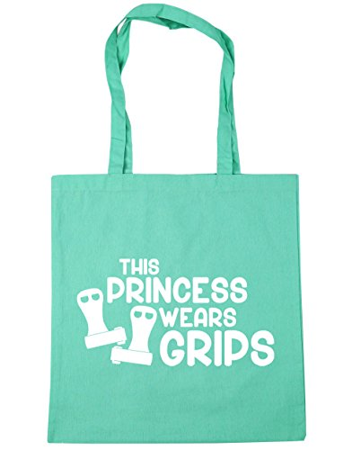 HippoWarehouse esta princesa lleva Grips gimnasia gimnasio playa bolsa de la compra bolsa 42cm x38cm, 10litros, gris grafito (gris) - 21428-TOTE-Graphite grey verde menta