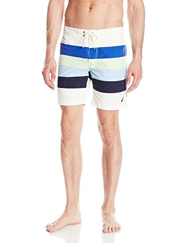Nautica Men's Quick Dry Striped Swim Trunk, Marshmallow, Large