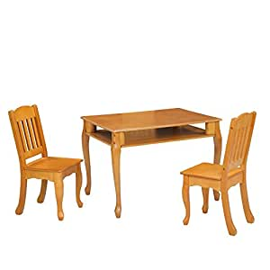 Teamson Kids - Windsor Rectangular Table & Set of 2 Chairs - Honey