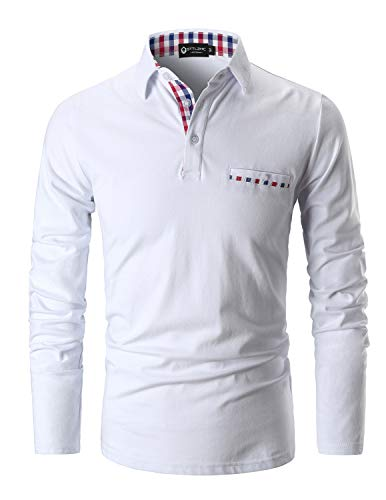 STTLZMC Polo Shirts for Men Long Sleeve Casual Fit Plaid Collar - Tee Baffled