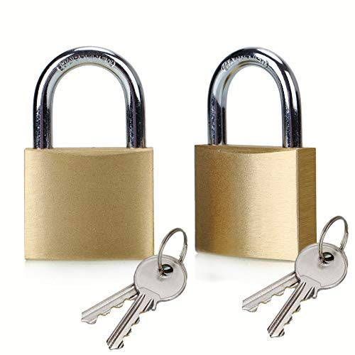ABRAFOX Solid Brass Keyed Padlock 40mm Locks Different Keys -2pack ()