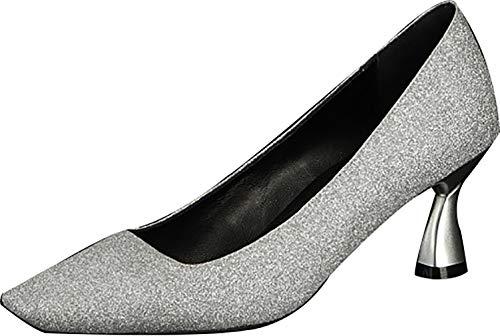 6 Femme 5cm Huafue Calaier Argent Escarpins Sur Glisser Square toe Chaussures T14IUxqU