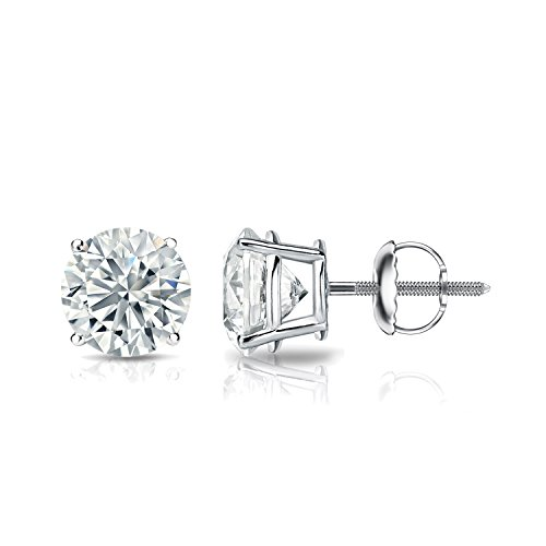 GIA Certified Platinum Round Diamond Stud Earrings 4-Prong (1.30 cttw, F-G, VS2-SI1) - Rb3557