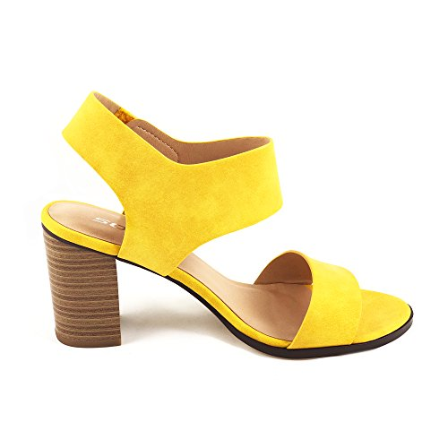 SODA Topshoeave Wait Womens Open Toe Chunky Heel Ankle Strap Shoes Block High Heel Dress Sandals (5.5 B(M) US, Yellow NBPU) ()