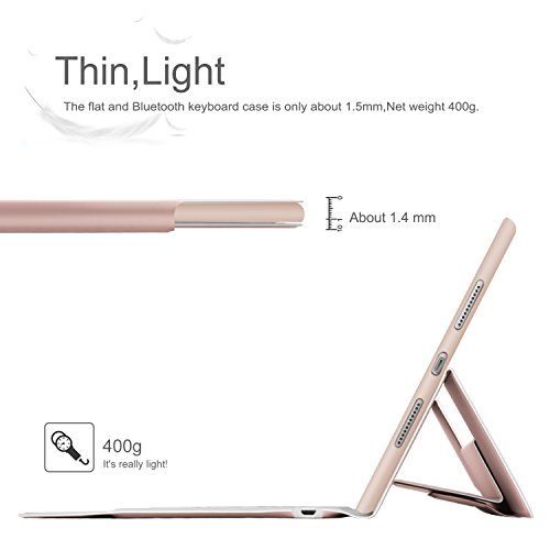 IVSO Apple iPad pro 10.5 inch Stand Case with Wireless Keyboard, Ultra-Thin Stand Cover Case for Apple iPad pro 10.5 inch 2017 Tablet (Rose Gold) by IVSO (Image #1)