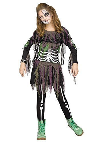 3d Zombie Costumes (Fun World Big Girl's Big Girls' Zombie Skeleton 3d Costume Childrens Costume, Multi, Large)