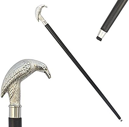 GENTLEMENS CLASSIC STYLE WOODEN WALKING STICK CANE BRASS HANDLE NICKEL 3 FOLD