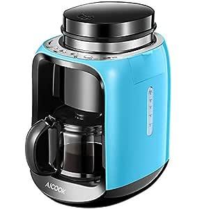 Aicook Cafetera con Molinillo, 2 en 1 Cafetera Automatica Molinillo Integrado, cafetera Goteo Función de Calentamiento Automático, (600ml) 2-6 Tazas ...