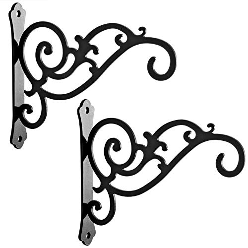 HongKim 2 Pieces 6-Inch Metal Plant Hanger Brackets, Outdoor Rustic Decorative Iron Wall Hooks for Hanging Lanterns Hummingbird Feeders Wind Chimes Planters, Black