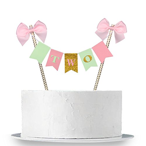 INNORU Handmade 2nd Two Birthday Cake Topper Gold Glitter Letter Cake Decoration for Baby Girl