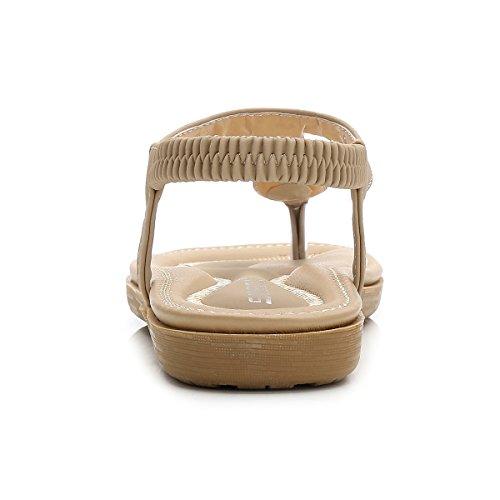 Bohème Séparateurs Chaussures Élastiques Femmes Sandales Caretoo Orteils Plates Strass Abricot Plage D'été IXxHqx0wv