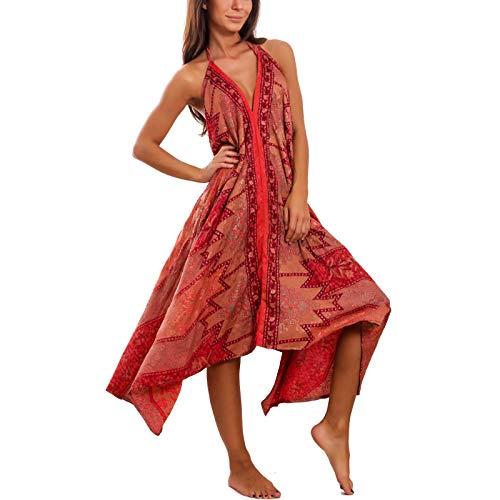 Toocool - Vestito donna abito indiano boho chic elegante misto seta ibiza  etnico PW-17  Taglia unica 2f1cc9ffd4d