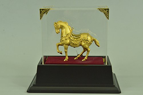 (Handmade European Bronze Sculpture Chinese Tang Horse 24K Gold Plated with Glass Display Bronze Statue -3X-SHO-547GB-Decor Collectible Gift)