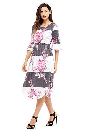 Women's Casual Loose Pocket Dress Floral Summer Dress 3/4 Bell Sleeve Midi Swing Dress Grey