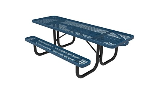 CoatedOutdoorFurniture T8H2-LBL Rectangular Portable Picnic Table, Handicap Accessible on Both Ends, 8 Feet, Light Blue