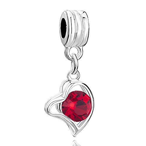 - RUBYCA 10Pcs Heart Dangle Pendant Charm Beads Crystal Rhinestone European Bracelet Light Siam Red
