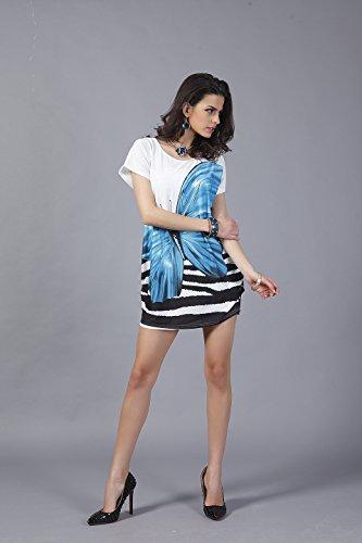 Solilor Women Fashion Plus Size Tunic T-Shirt Dress Tops, Blue, Onesize