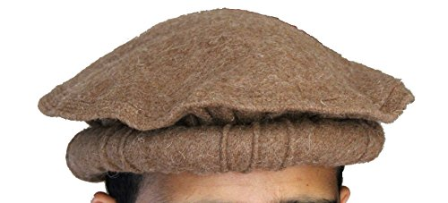 - 100% wool Handmade Chitrali Cap / Afghani Pakol / Hat from Pakistan & Afghanistan (Khaki)