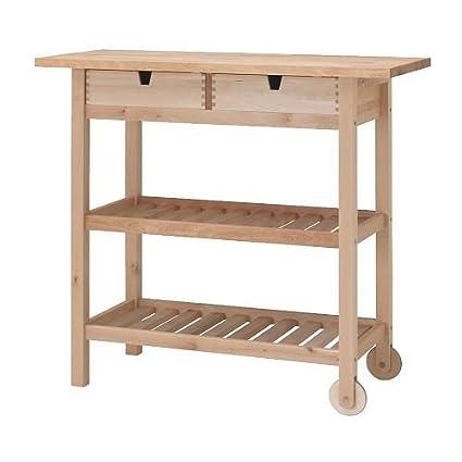Amazon.com - IKEA FORHOJA - Kitchen trolley, birch - 100x43 ...